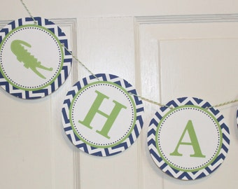 PREPPY CHEVRON ALLIGATOR Happy Birthday or Baby Shower Party Banner Lime Green Navy - Party Packs Available