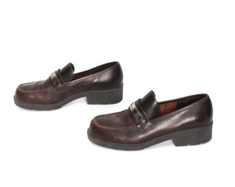 size 8 ESPRIT brown leather 80s 90s CHUNKY PLATFORM grunge high heel loafers