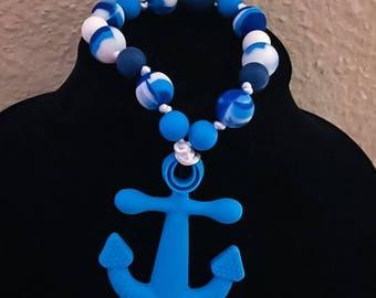 Ocean Blue Anchor teething toy ring