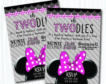 Twodles Girly Custom Digital Printable Mini Mouse Pink Bow Two Polka Dots Girls Birthday Invitation Customizable