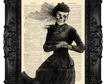 Digital Print Skeleton Art Print Geekery Geek Gothic Painting Goth Decor Upcycled Book Art Print Skull Painting Victorian Death Gothic 082