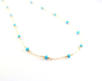 Gold Turquoise Necklace, Gold Turquoise Jewelry, Genuine Turquoise Necklace, Dainty Layering Necklace, Beaded Gemstone Chain Necklace
