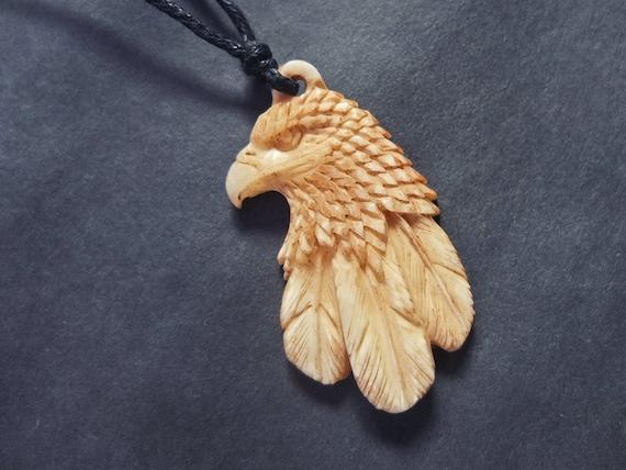 Eagle necklace pendant hand carved buffalo bone eagle jewelry aloadofball Images