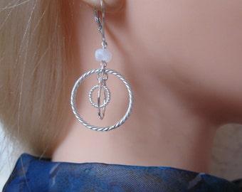 Triple Hoop Earrings in Silver with Moonstone