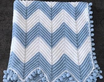 Blue and White Chevron Crochet Baby Blanket