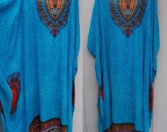 Vintage Blue African Dashiki Print Indian Hippy Caftan / Free Size OSFA