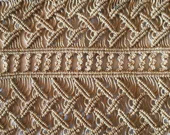 Vintage Hand Knotted Hemp Textile Exquisite Macrame Panels Antique Trim