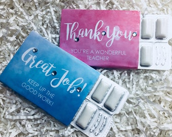 Thank You-Teacher/Employee Appreciation-Gum Favors/Wrappers-End of School-Office/Business/Client-Marketing/Advertising Giveaway-Motivational