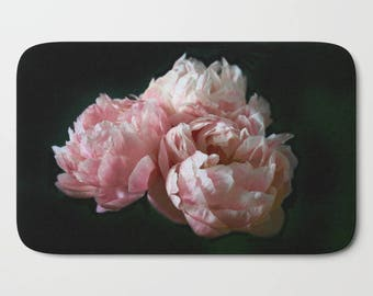 Shabby Chic Bath Mat, Pink Peonies Print, Boho Decor, Floral Bathroom Decor, Cottage Chic, Bath Mat Set, Gifts for Her