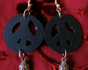 Peace Buddha Recycled earrings, Recycled bike inner tube earrings, Peace recycled rubber earrings