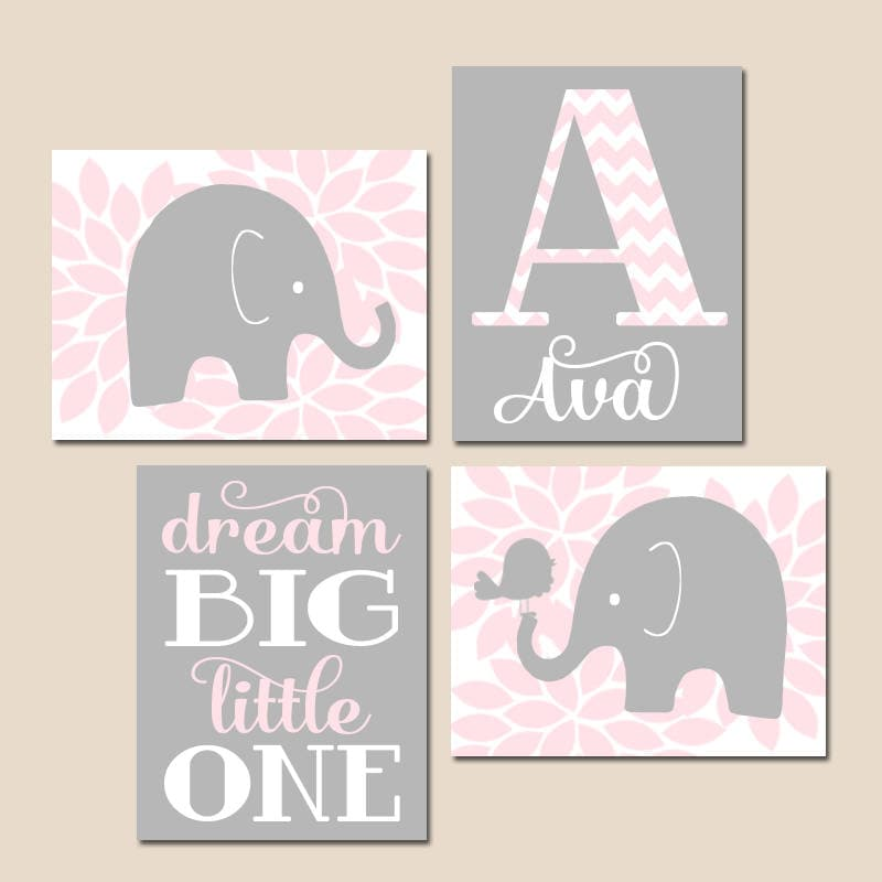 Pink And Gray Girls Baby Room: Pink Gray ELEPHANT Nursery Decor Baby Girl Elephant Nursery