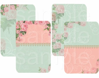 Instant Download - Flora Bell -   Printable Digital Collage Sheet  - Romantic Downloads Hang Tags Scrapbooking
