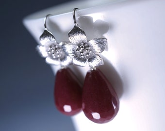 Ruby Jade Earrings - Flower Earrings - July Birthstone - Teardrop Ruby Dangle Earrings  - Ruby Jewelry