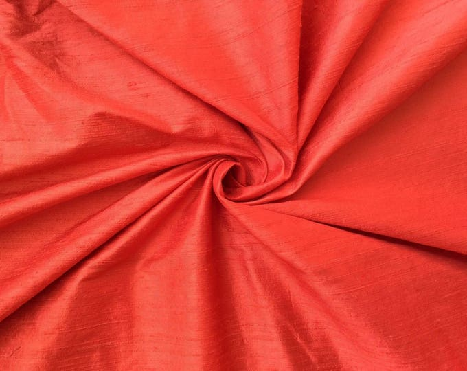 "Coral Orange 100% dupioni silk fabric yardage By the Yard 45"" wide"