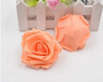 Set of 5 pretty artificial flowers in the shape of pink - apricot