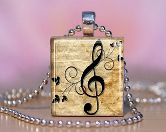 Musical Clef Note Scrabble Tile Pendant Necklace Jewelry. Vintage Paper Music Art Charm Bracelet - Key Ring.  Gift for Music Lover. #150