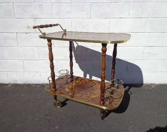 Tea Cart Vintage Italian Marquetry Bar Inlay Colorful Console Wine Rack Server Brass Hollywood Regency Glam Casters Gold Antique Furniture