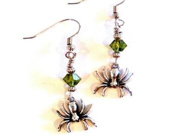 Spider earrings olive crystal Handmade Gift