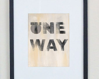 Typography art print, Signage, Neutral color artwork, Urban inspired
