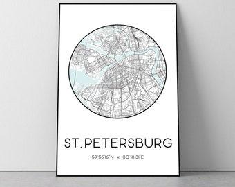 St. Petersburg City Map Print   St. Petersburg poster, St. Petersburg map art, St. Petersburg wall art print, St. Petersburg gift