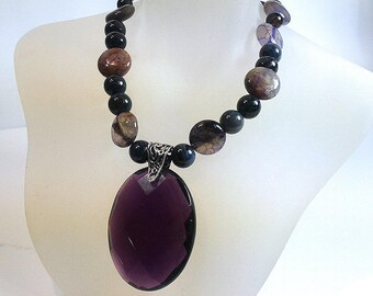Purple and Black Agate Necklace, Sterling Silver Necklace, Gemstone Necklace, Purple Glass Pendant Necklace, Toggle Necklace, Gift for Her