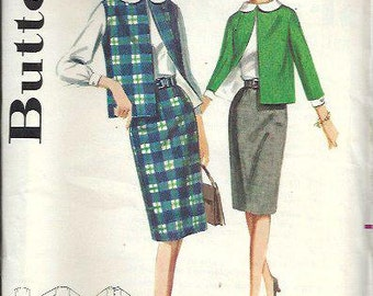 1960's Butterick 2848 Misses Coordinates Pattern, Straight Skirt, Jacket and Blouse, Size 16