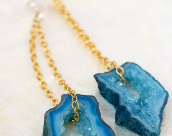 Geode Earrings, Druzy Earrings, Geode Slice Earrings, Blue Druzy Earrings, Geode Jewelry, Agate Slice Earrings, Dangle Earrings