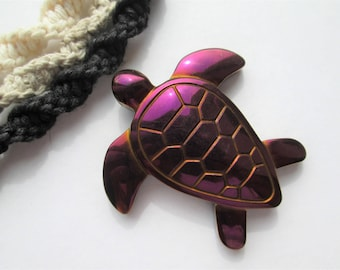 Turtle - Red Carved Hematite Turtle Pendant on Handmade Hemp Necklace in Your Choice of Color - Red Sea Turtle Pendant - Beach Hemp Necklace