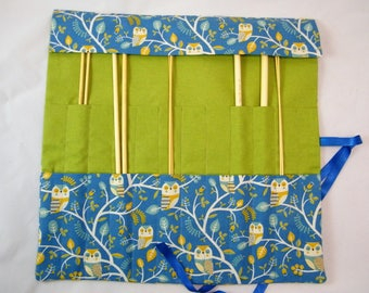 Straight Knitting needle organiser. Knitting needle roll. Owl  fabric