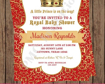 Custom Printed Boy Red Crown Royal Prince Baby Shower Invitations - 1.00 each with envelope