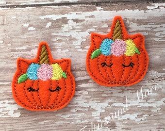 Pumpkin Feltie, Unicorn Pumpkin Feltie, Pumpkin Felties, 2 Embroidered Felties, Unicorn Felties, Autumn, Fall Feltie, Pumpkins, Cut Felties