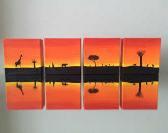 Set - African Silhouette polyptych, (4) 4x4 canvases, original acrylic painting set, with elephants, giraffe, rhinoceros, meetkats, baboon,