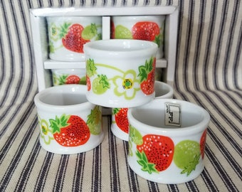 Vintage Porcelain Strawberry Napkin Rings, New Old Stock, NOS NIP Collectible