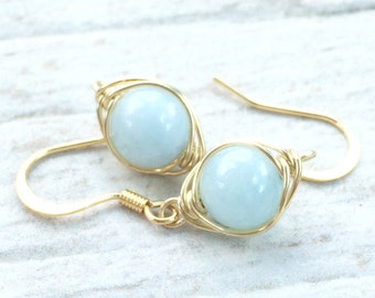 Aquamarine Earrings, Aquamarine Jewelry, Gold Jewelry