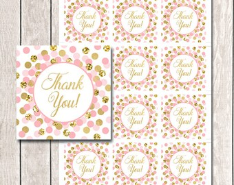 Pink and Gold Thank You Tags Printable Girl Birthday Party Favors Baby Shower Thank You Favor Tags Pink Gold Thank You Tags INSTANT DOWNLOAD