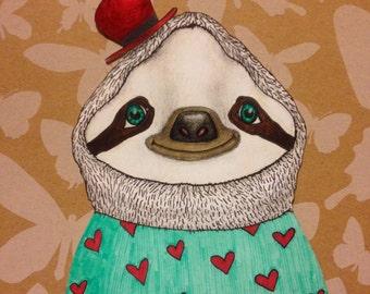 Fancy Sloth in a heart sweater (digital)