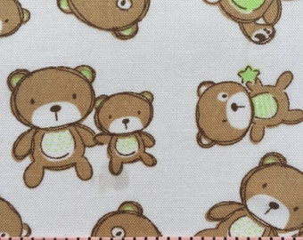 Baby Bears Fat Quarters. Brown, White, Green.