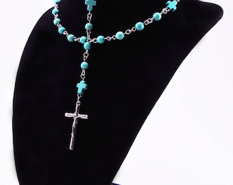Rosary, Howlite Turquoise Beads, Religious, Spiritual, Stainless Steel Findings, Catholic, Cross, Prayer Beads, Crucifix