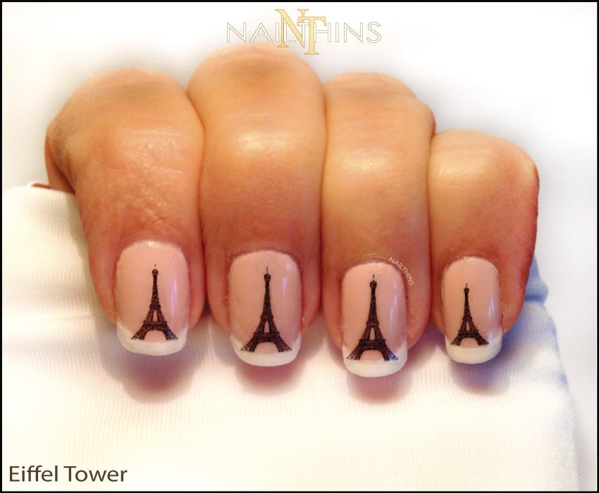 🔎zoom - Eiffel Tower Nail Decal Paris Nail Art Eiffel Nail Wrap Design