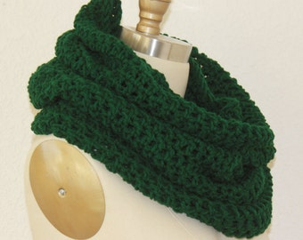 Extra Large Tube Cowl Snood Dark Forest Green