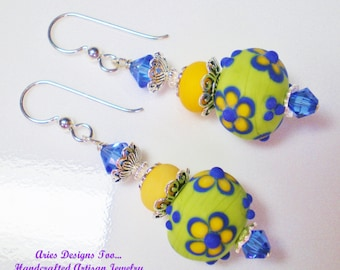 Lime Green  Lampwork Earrings with Sapphire Blue and Yellow Flowers