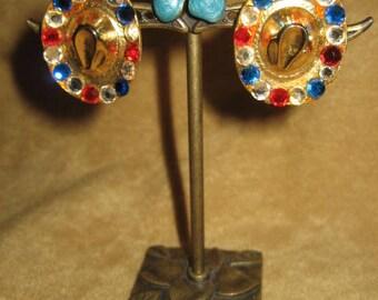 Cowboy Hat Earrings Clip Rhinestone Vintage