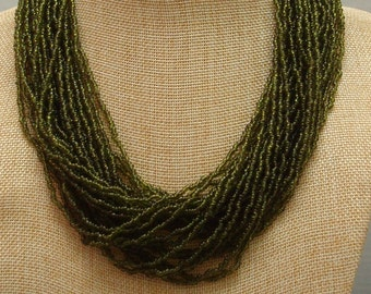 Vintage Dark Green Glass Seed Bead Torsade Necklace