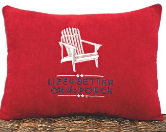 Patriotic Accent Pillow Cushion Adirondack Chair Americana Red White Blue Fourth of July Porch Decor Rustic Repurposed Decorative