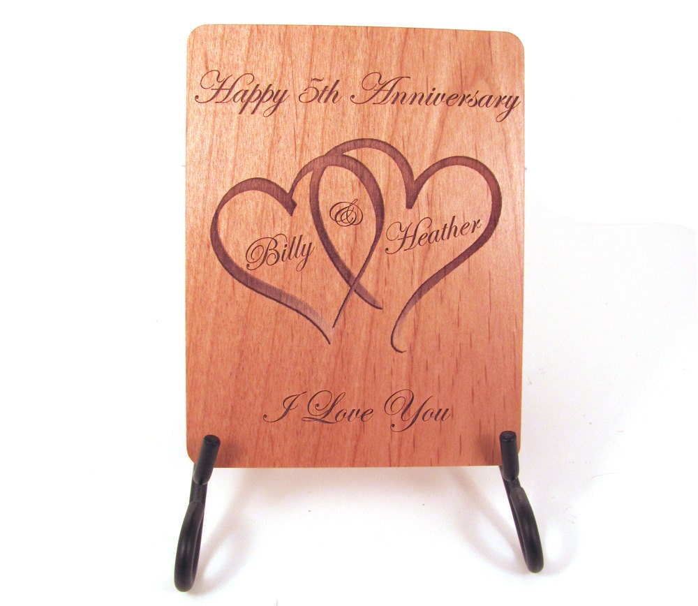 Anniversary card 5 year anniversary wood card personalized zoom kristyandbryce Choice Image