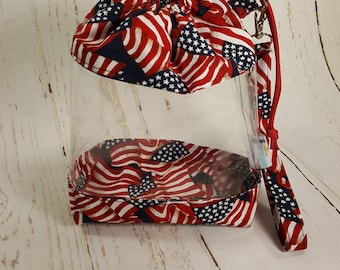 Clear Knitting Project Bag, American Flags, Clear Vinyl  Bag, Sock Knitting Bag, Clear project bag CVS0034