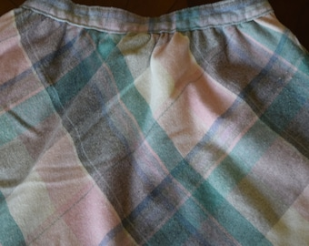 Vintage Pink and Blue Plaid Wool Skirt Women's 14