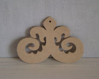 Volute wooden mdf backing to customize: 8.5 x 11.5 cm