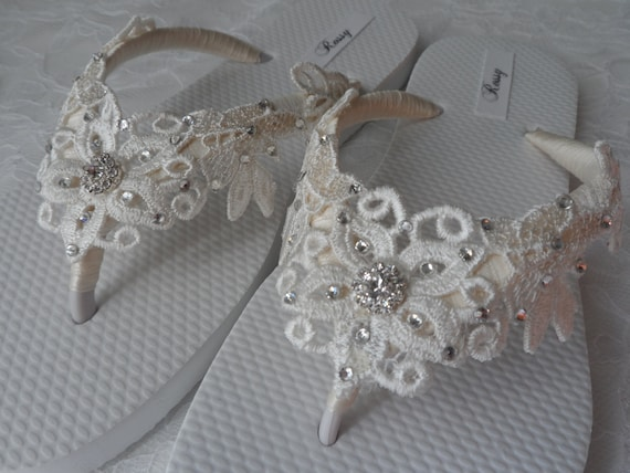 Venice Bridal Bridesmaids Wedding Sandals Flip Flops Flip Lace Shoes Flip flops Ivory Venice Lace Bridal White Flops d8fwUZ