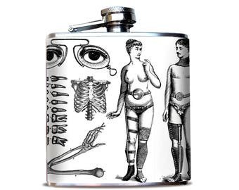 Vintage Medical Illustration Hip Flask| Bizarre Anatomical Drawing | Weird Skeleton Images | Strange Gift for friend | Dental teeth